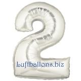 Folien-Luftballon Silber, Zahl 2