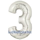 Folien-Luftballon Silber, Zahl 3