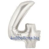 Folien-Luftballon Silber, Zahl 4