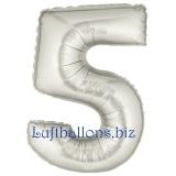 Folien-Luftballon Silber, Zahl 5