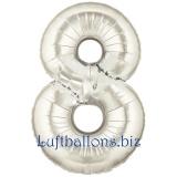 Folien-Luftballon Silber, Zahl 8