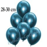 Chrome Latexballons, 28-30 cm, Blau, 50 Stück