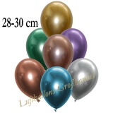 Chrome Latexballons, 28-30 cm, Bunt, 50 Stück