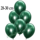 Chrome Latexballons, 28-30 cm, Grün, 50 Stück