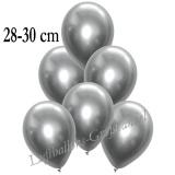 Chrome Latexballons, 28-30 cm, Silber, 10 Stück
