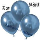 Chrome Latexballons, 30 cm, Blau, 50 Stück