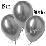 Chrome Mini-Latexballons, 15 cm, Silber, 50 Stück