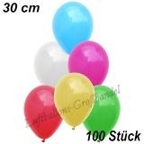 Latexballons, 30 cm, Standardfarbe, Bunt gemischt, 100 Stück