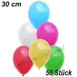 Latexballons, 30 cm, Standardfarbe, Bunt gemischt, 50 Stück