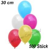 Latexballons, 30 cm, Standardfarbe, Bunt gemischt, 500 Stück
