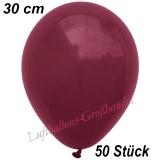 Latexballons, 30 cm, Standardfarbe, Burgund, 50 Stück