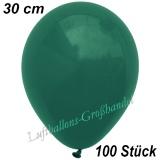 Latexballons, 30 cm, Standardfarbe, Dunkelgrün, 100 Stück