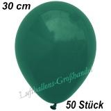 Latexballons, 30 cm, Standardfarbe, Dunkelgrün, 50 Stück