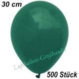 Latexballons, 30 cm, Standardfarbe, Dunkelgrün, 500 Stück