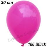 Latexballons, 30 cm, Standardfarbe, Fuchsia, 100 Stück