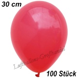 Latexballons, 30 cm, Standardfarbe, Rot, 100 Stück