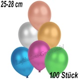 Latexballons, 25-28 cm cm, Metallic, Bunt gemischt, 100 Stück