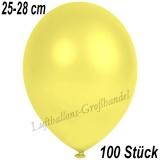 Latexballons, 25-28 cm cm, Metallic, Gelb, 100 Stück