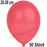 Latexballons, 25-28 cm cm, Metallic, Rot, 50 Stück