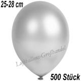Latexballons, 25-28 cm cm, Metallic, Silber, 500 Stück