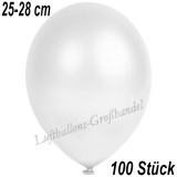 Latexballons, 25-28 cm cm, Metallic, Weiß, 100 Stück