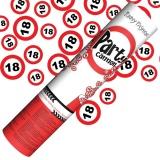 Mini-Konfettikanone Verkehrsschilder Zahl 18, 1 Stück
