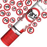 Mini-Konfettikanone Verkehrsschilder Zahl 70, 1 Stück