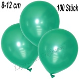 Mini-Latexballons 8-12 cm, Metallic, Aquamarin, 100 Stück