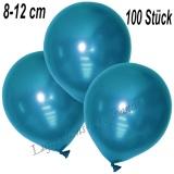 Mini-Latexballons 8-12 cm, Metallic, Blau, 100 Stück