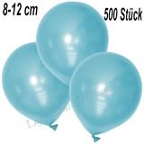 Mini-Latexballons 8-12 cm, Metallic, Hellblau, 500 Stück