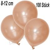 Mini-Latexballons 8-12 cm, Metallic, Lachs, 100 Stück