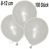 Mini-Latexballons 8-12 cm, Metallic, Perlweiß, 100 Stück