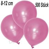 Mini-Latexballons 8-12 cm, Metallic, Rosa, 500 Stück