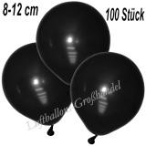 Mini-Latexballons 8-12 cm, Metallic, Schwarz, 100 Stück