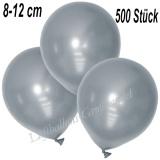 Mini-Latexballons 8-12 cm, Metallic, Silber, 500 Stück