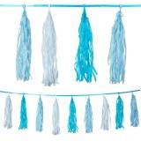 Quasten-Girlande, blau, 3 m