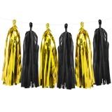 Quasten-Girlande, schwarz/gold, 1,5 m