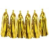 Quasten-Girlande, gold, 1,5 m