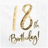 Servietten Happy 18th Birthday Golden Sparkle, 20 Stück Packung