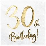 Servietten Happy 30th Birthday Golden Sparkle, 20 Stück Packung