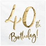 Servietten Happy 40th Birthday Golden Sparkle, 20 Stück Packung