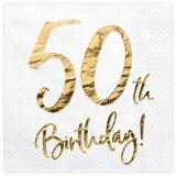 Servietten Happy 50th Birthday Golden Sparkle, 20 Stück Packung