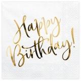 Servietten Happy Birthday Golden Sparkle, 20 Stück Packung
