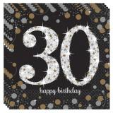 Servietten Happy Birthday Sparkling Gold 30, 16 Stück Packung