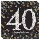 Servietten Happy Birthday Sparkling Gold 40, 16 Stück Packung