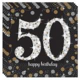 Servietten Happy Birthday Sparkling Gold 50, 16 Stück Packung