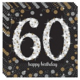 Servietten Happy Birthday Sparkling Gold 60, 16 Stück Packung