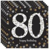 Servietten Happy Birthday Sparkling Gold 80, 16 Stück Packung