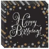 Servietten Happy Birthday Sparkling Gold, 16 Stück Packung