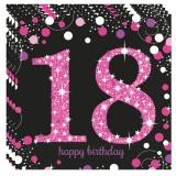 Servietten Happy Birthday Sparkling Pink 18, 16 Stück Packung